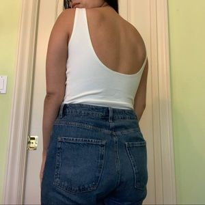 White Low back body suit